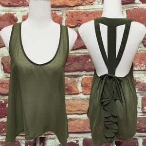 ANTHROPOLOGIE SANS SOUCI ARMY GREEN HI LO BLOUSE